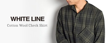 WHITE LINEコットンウールチェックシャツ